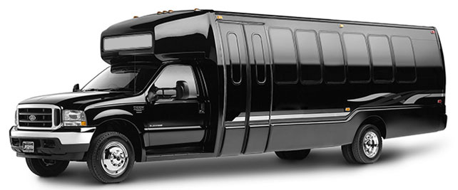 Luxury Black Limousine Bus